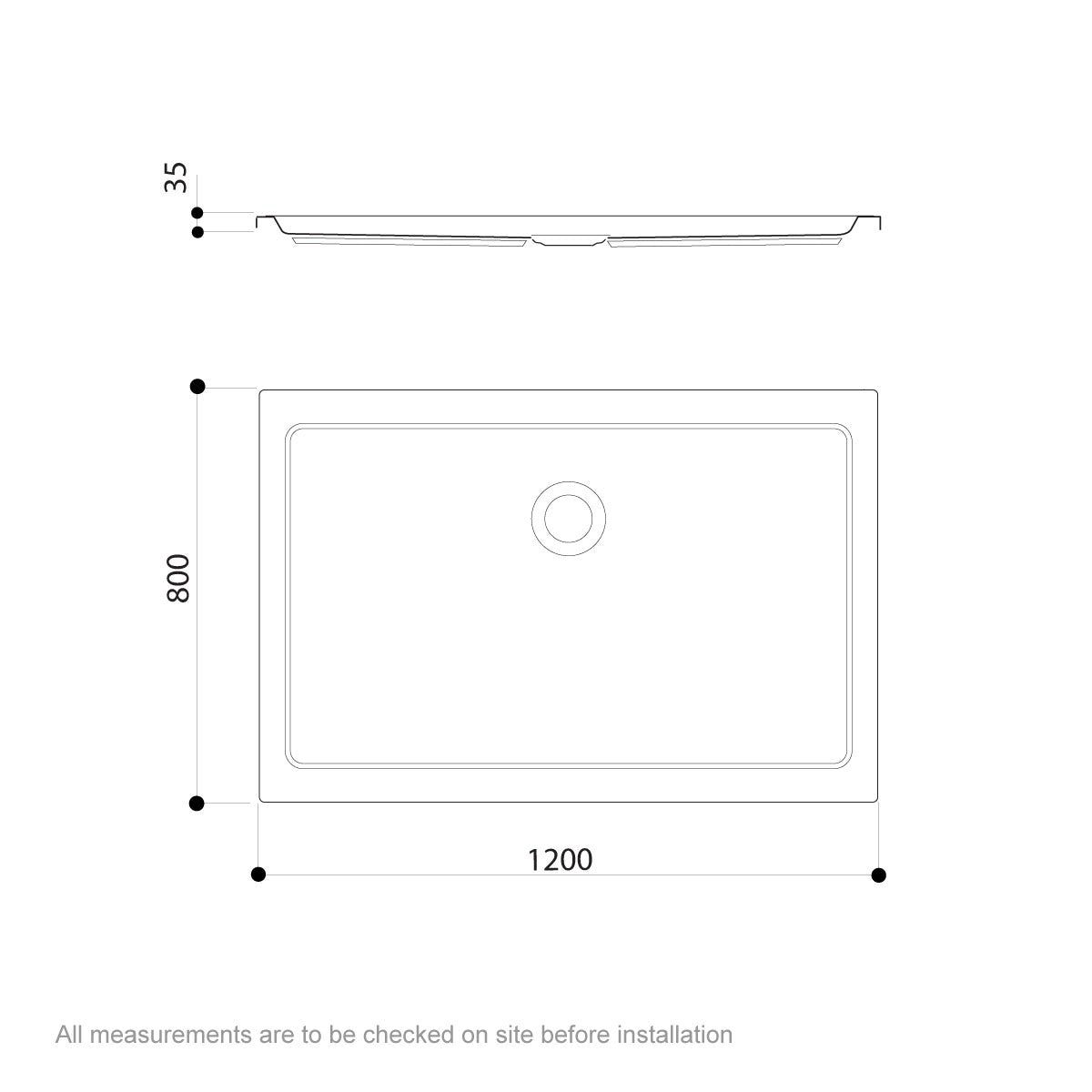Dimensions for Jacuzzi Essentials matt white acrylic shower tray 1200 x 800