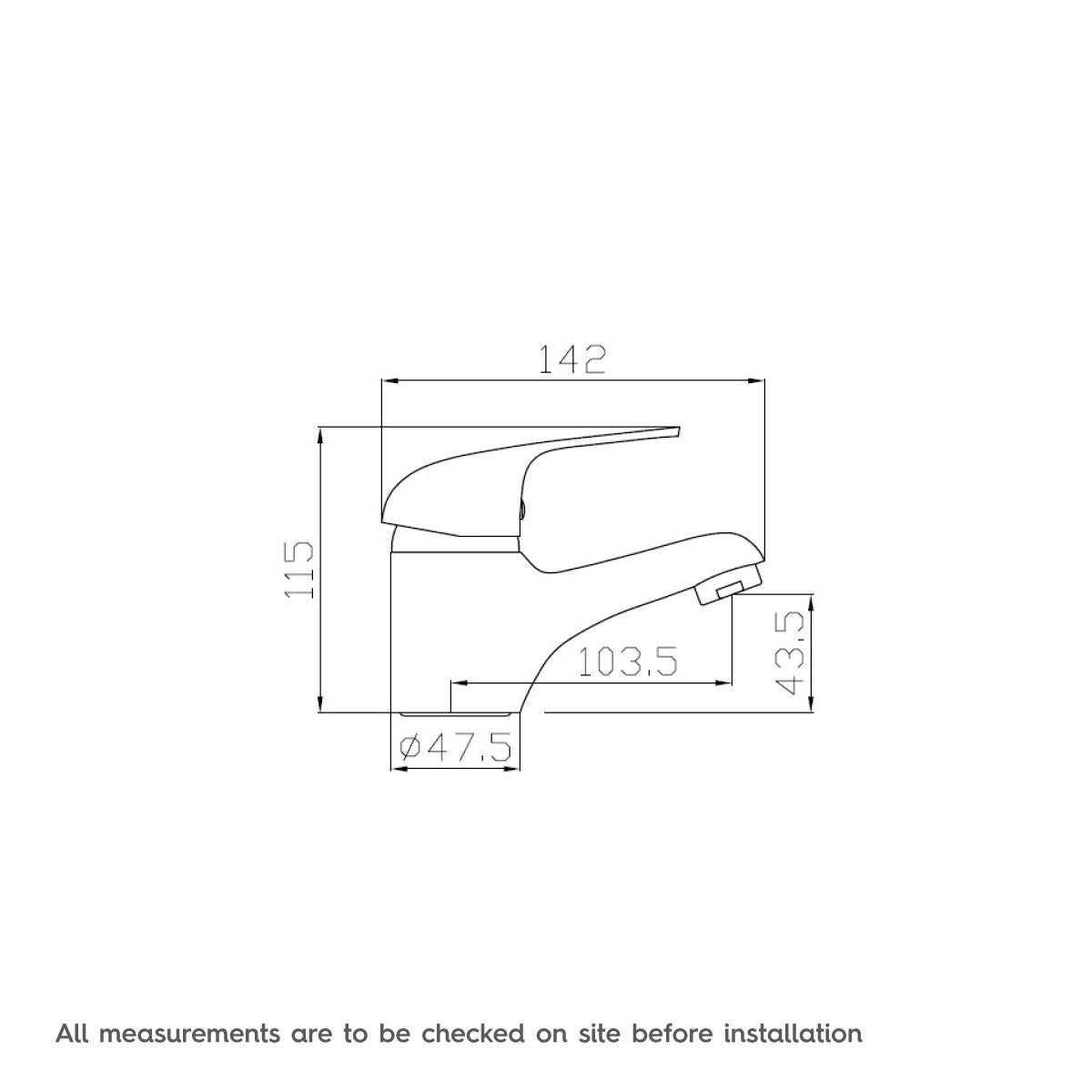 Dimensions for Clarity single lever basin mixer tap