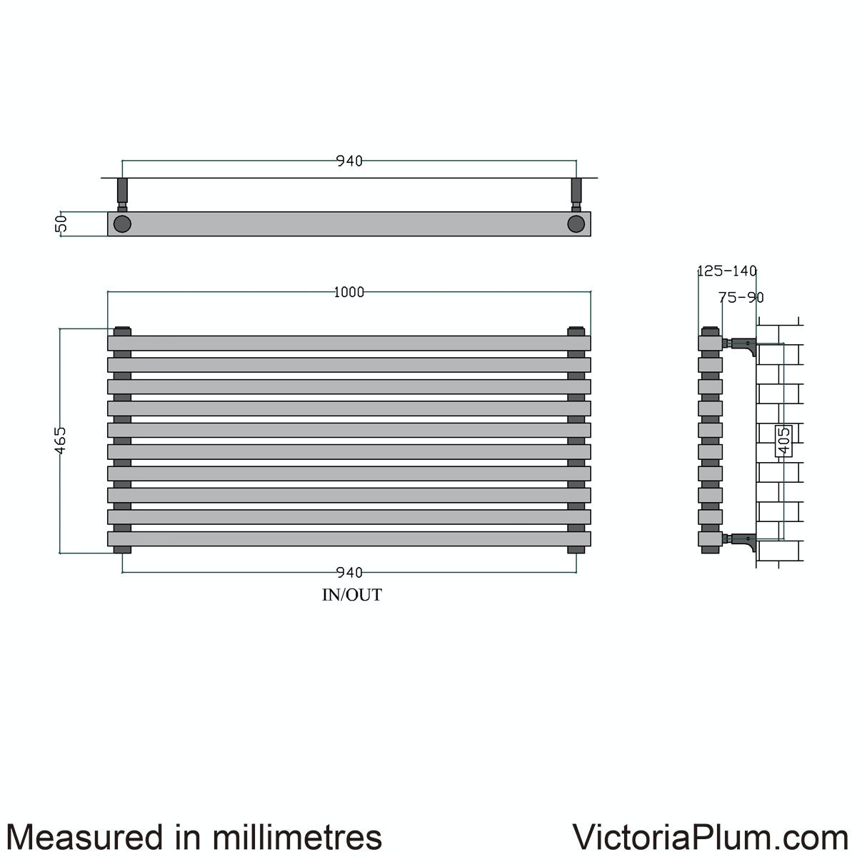 Dimensions for Mode Cadence horizontal radiator 465 x 1000