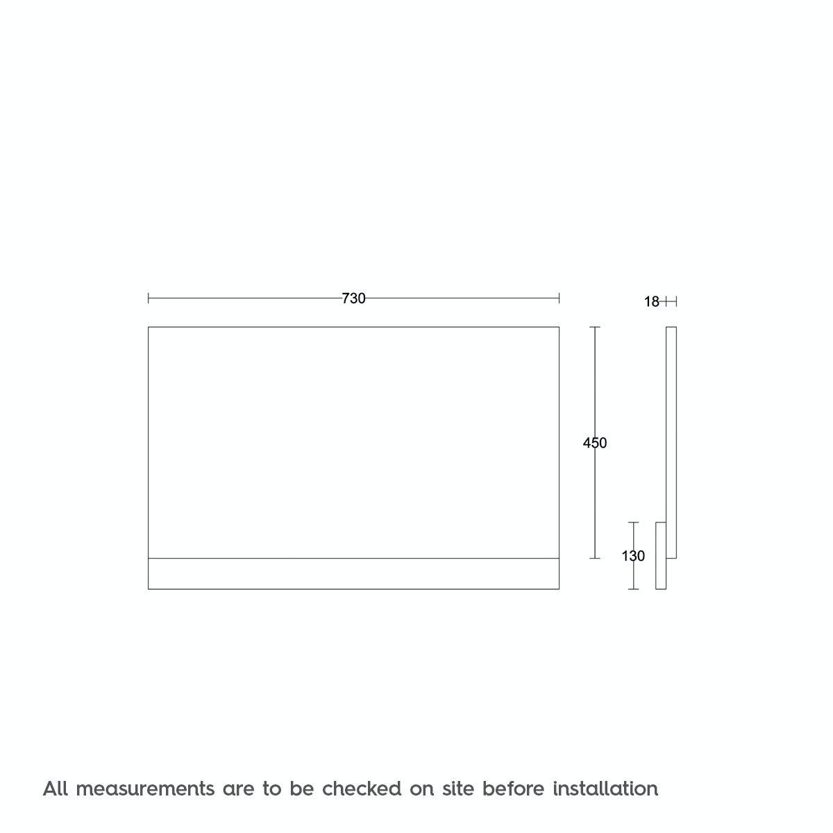 Dimensions for Drift essen wooden bath end panel 750mm