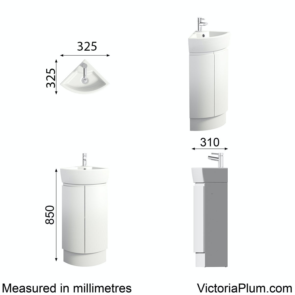 Dimensions for Mode Harrison snow corner vanity unit and basin