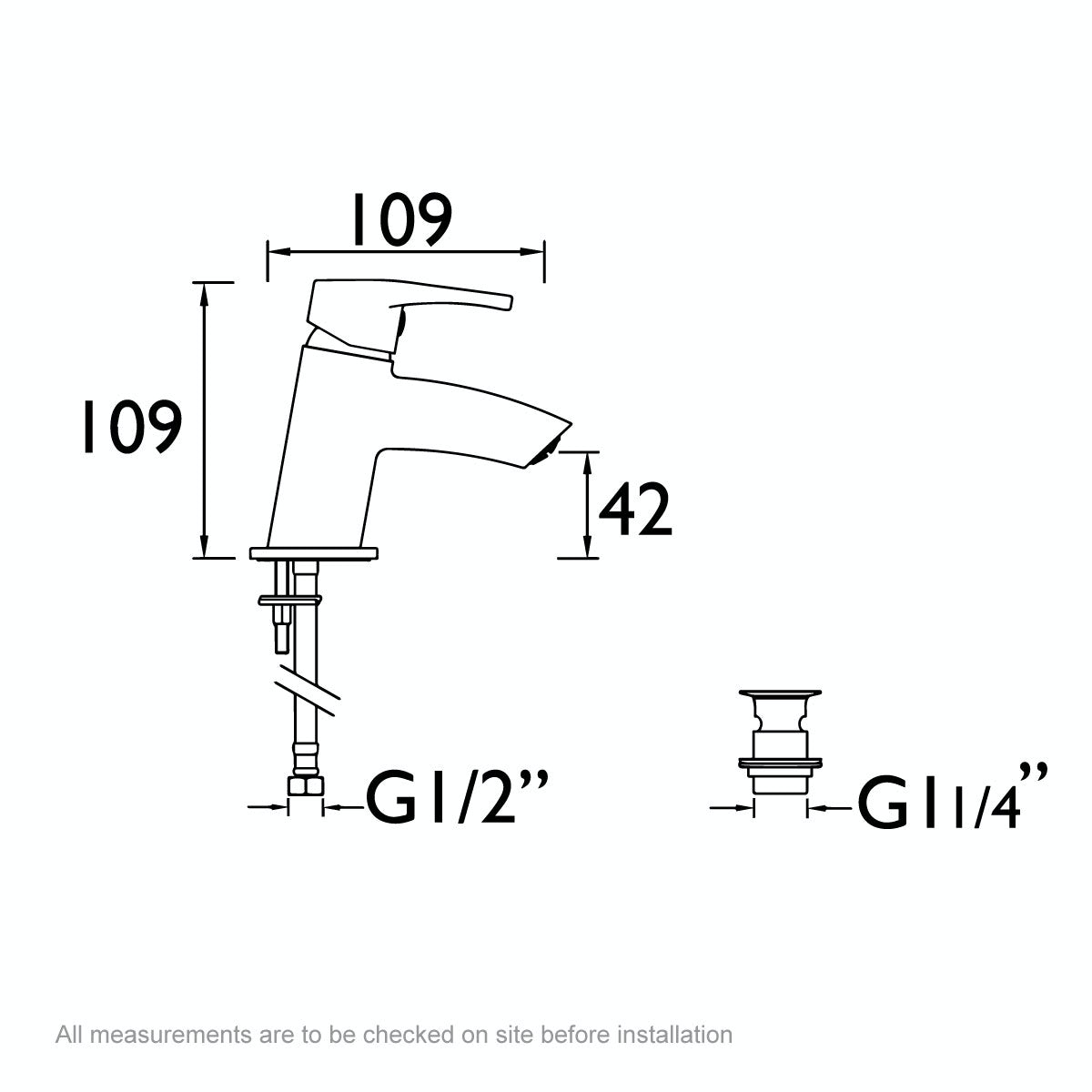 Dimensions for Bristan Smile cloakroom basin mixer tap