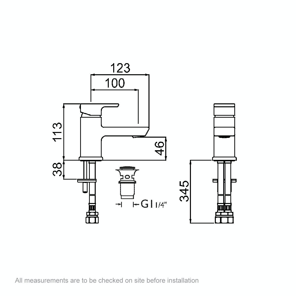 Dimensions for Bristan Cobalt basin mixer tap with waste
