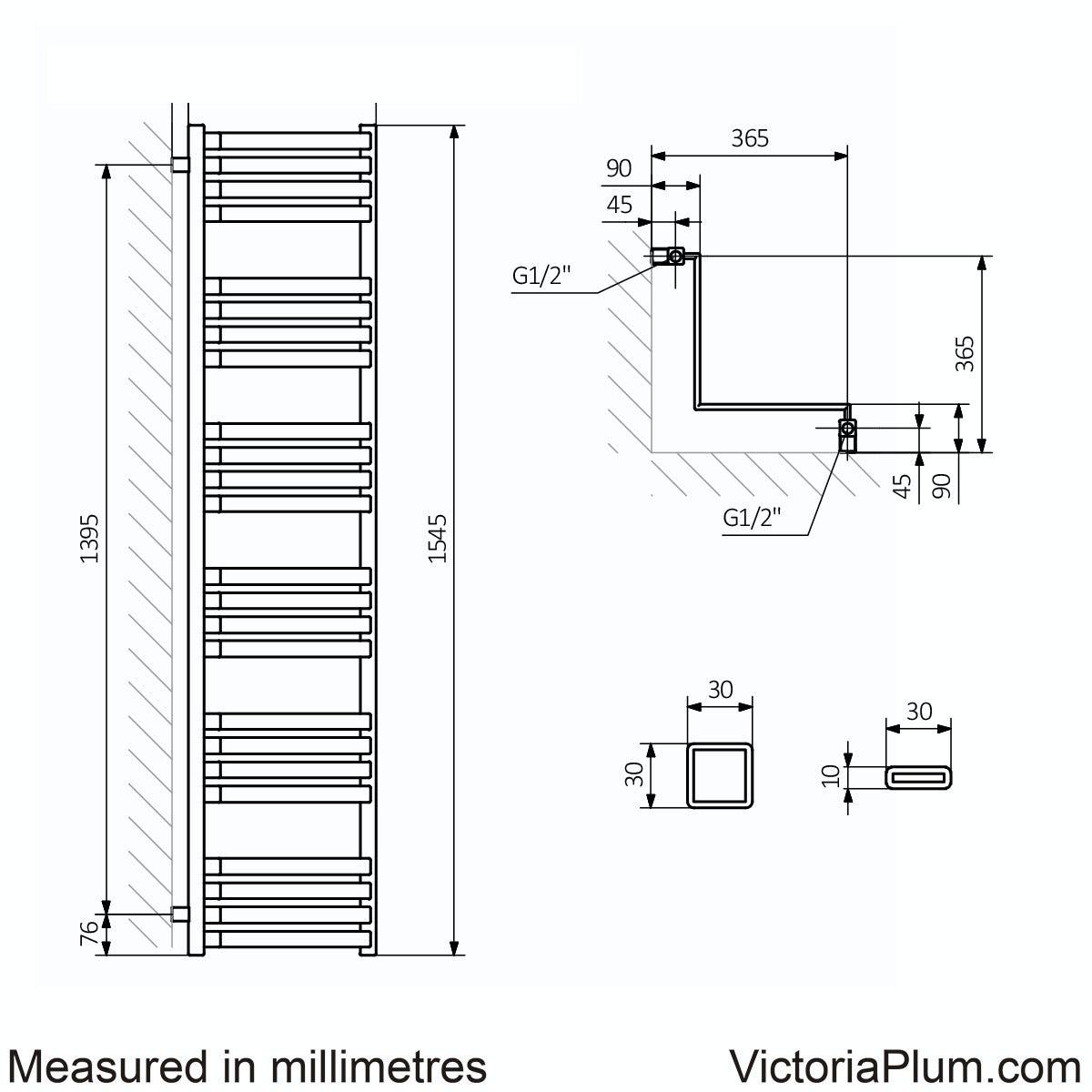 Dimensions for Terma Incorner modern grey heated towel rail 1545 x 350
