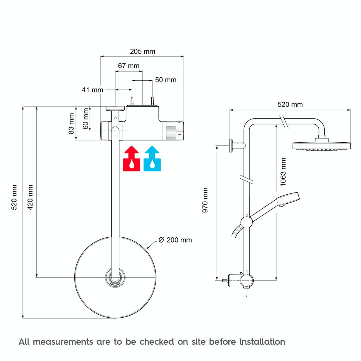 Dimensions for Mira Agile ERD thermostatic mixer shower