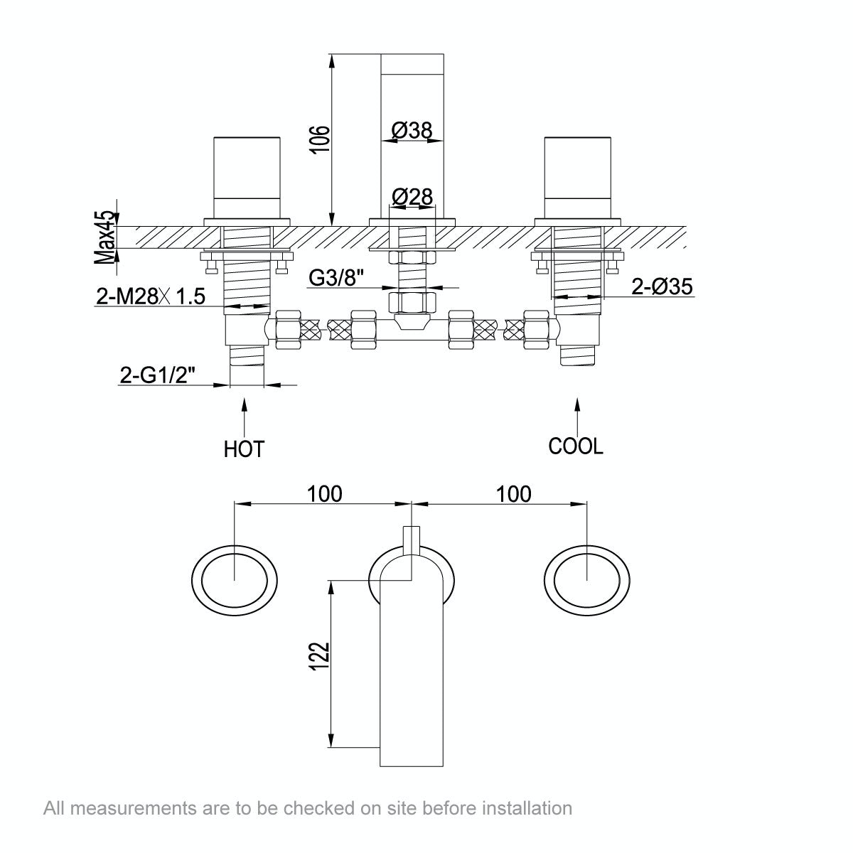 Dimensions for Mode Doshi 3 hole basin mixer tap