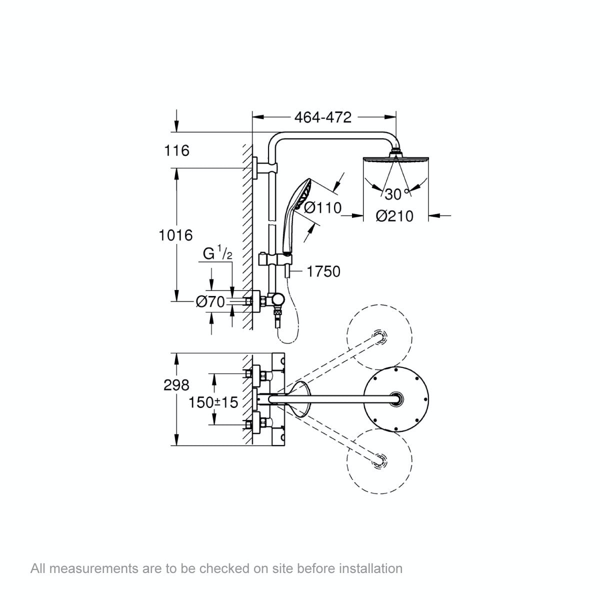 Dimensions for Grohe Euphoria XXL 210 shower system