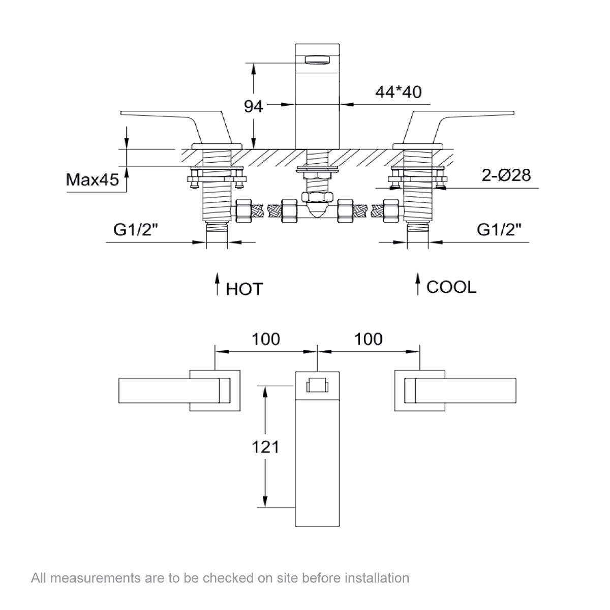 Dimensions for Mode Carter 3 hole basin mixer tap