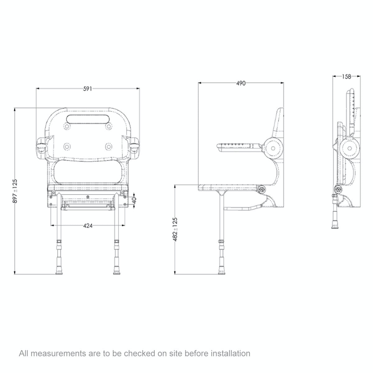 Dimensions for AKW 2000 series folding shower seat with back and arms