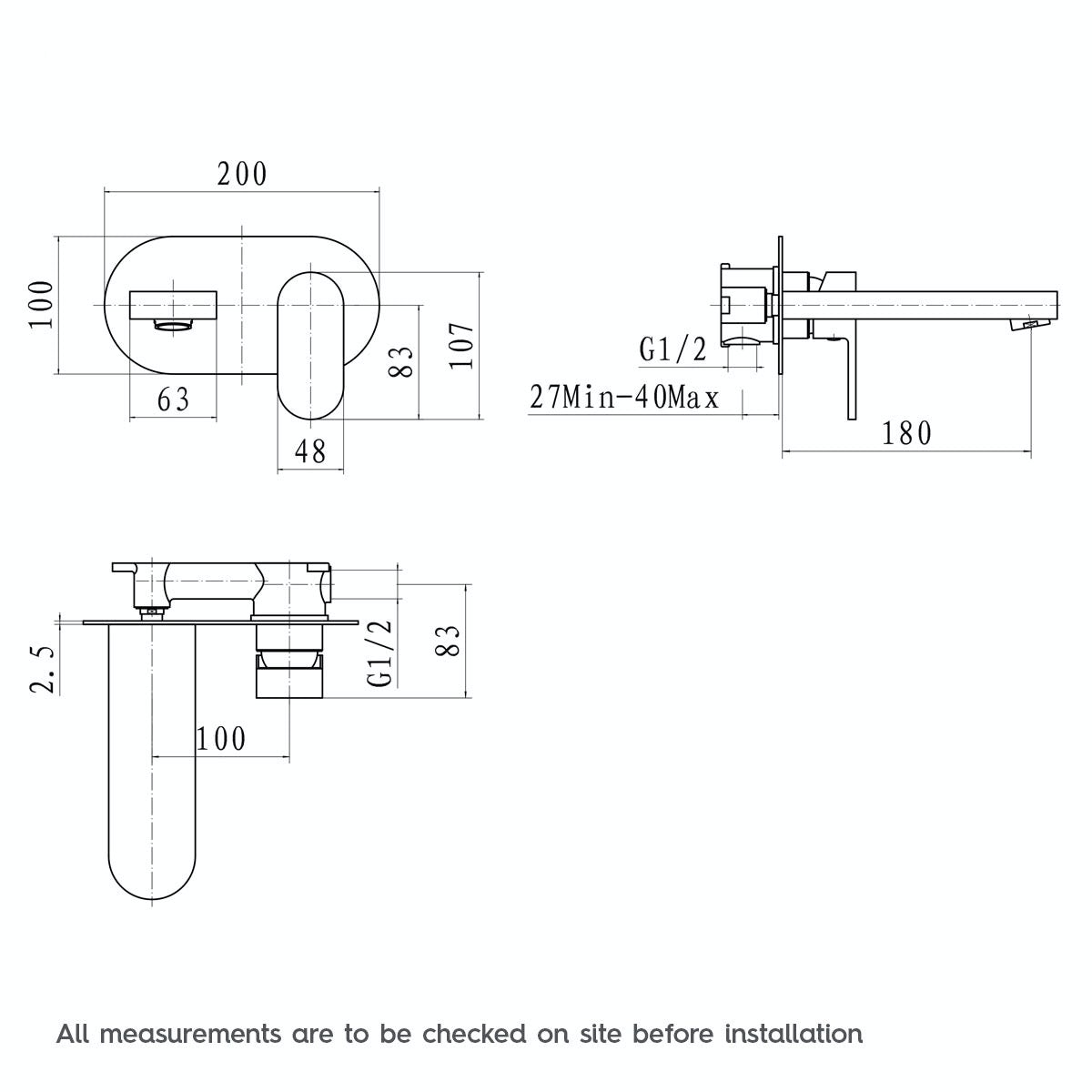 Dimensions for Mode Hardy wall mounted bath mixer tap