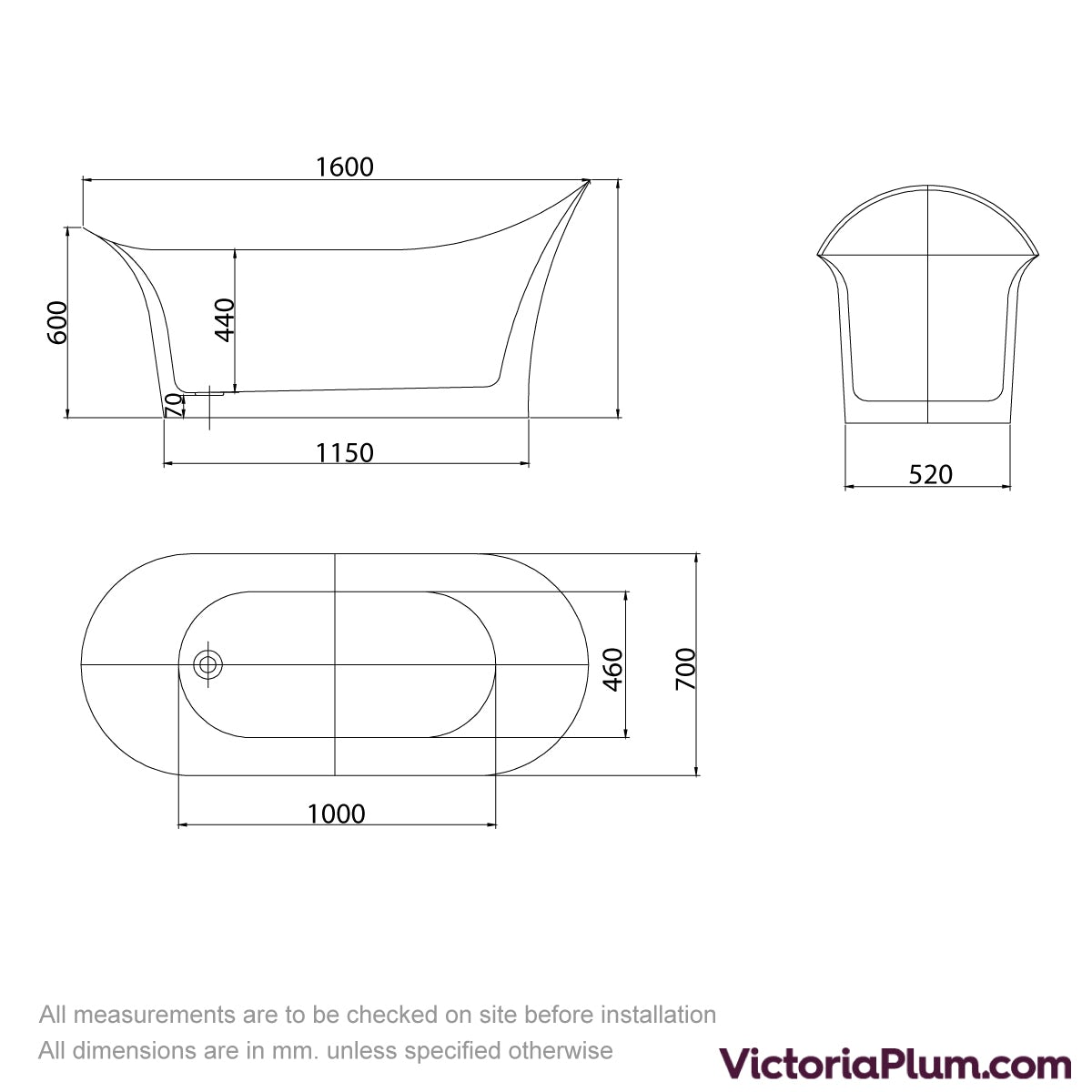 Dimensions for Mode Heath freestanding bath 1600 x 700