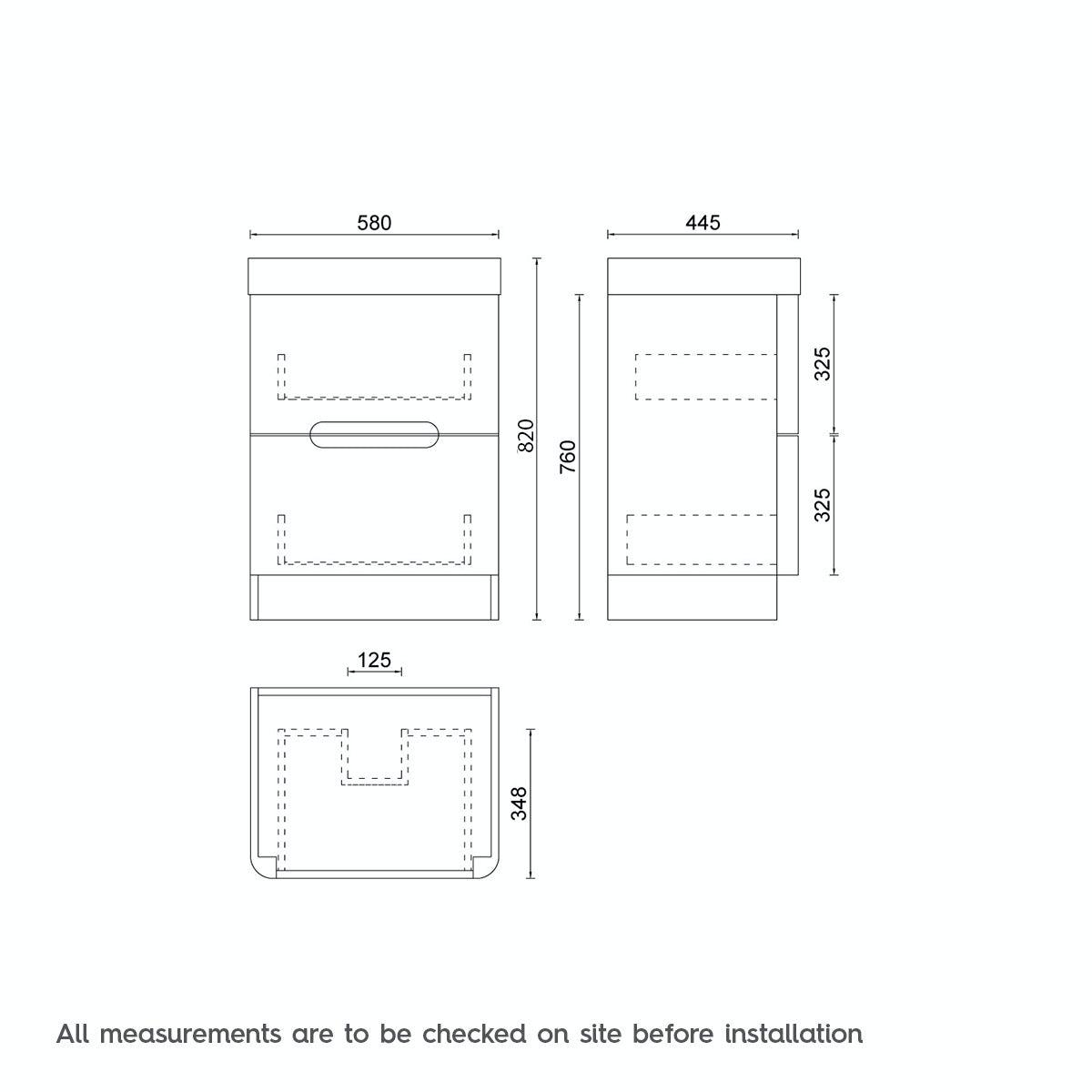 Dimensions for Mode Ellis slate vanity drawer unit and basin 600mm