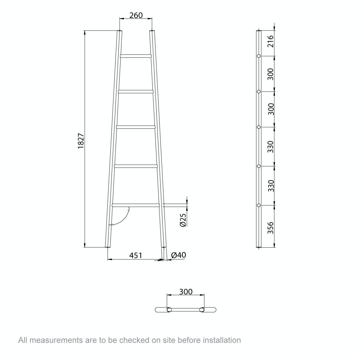 Dimensions for Mode South Bank white towel ladder