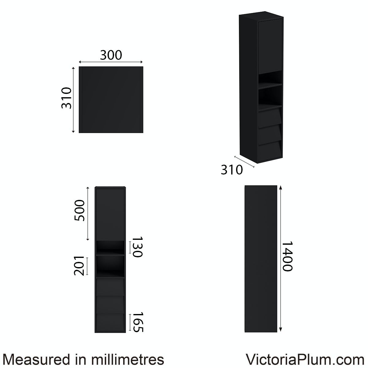 Dimensions for Mode Cooper anthracite side cabinet