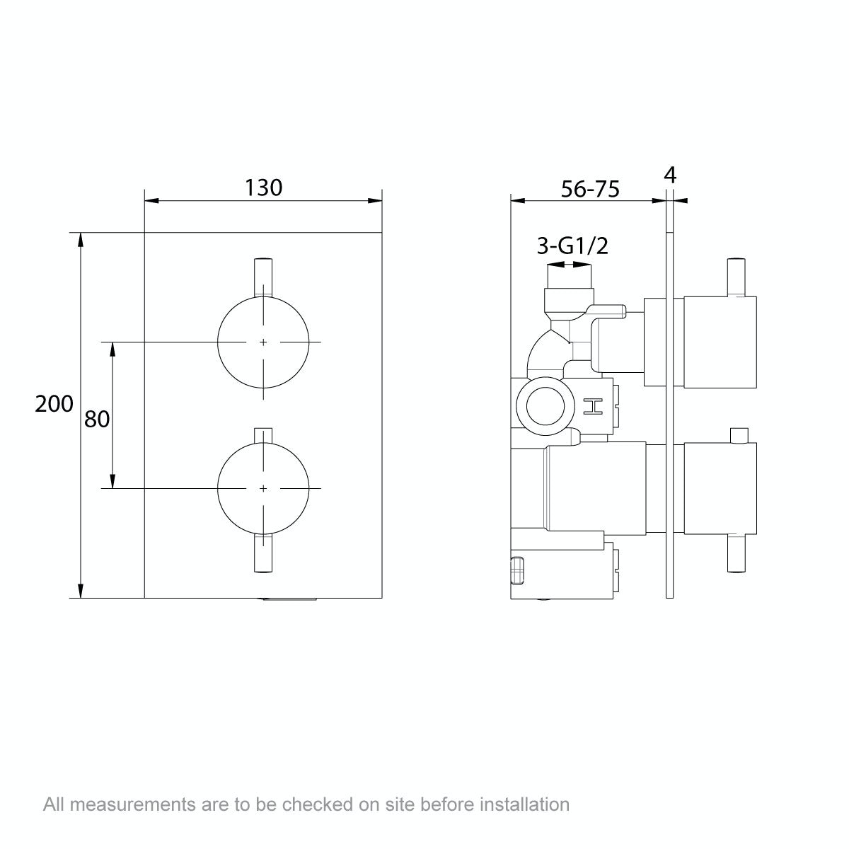 Dimensions for Mode Spencer round gold twin valve shower set