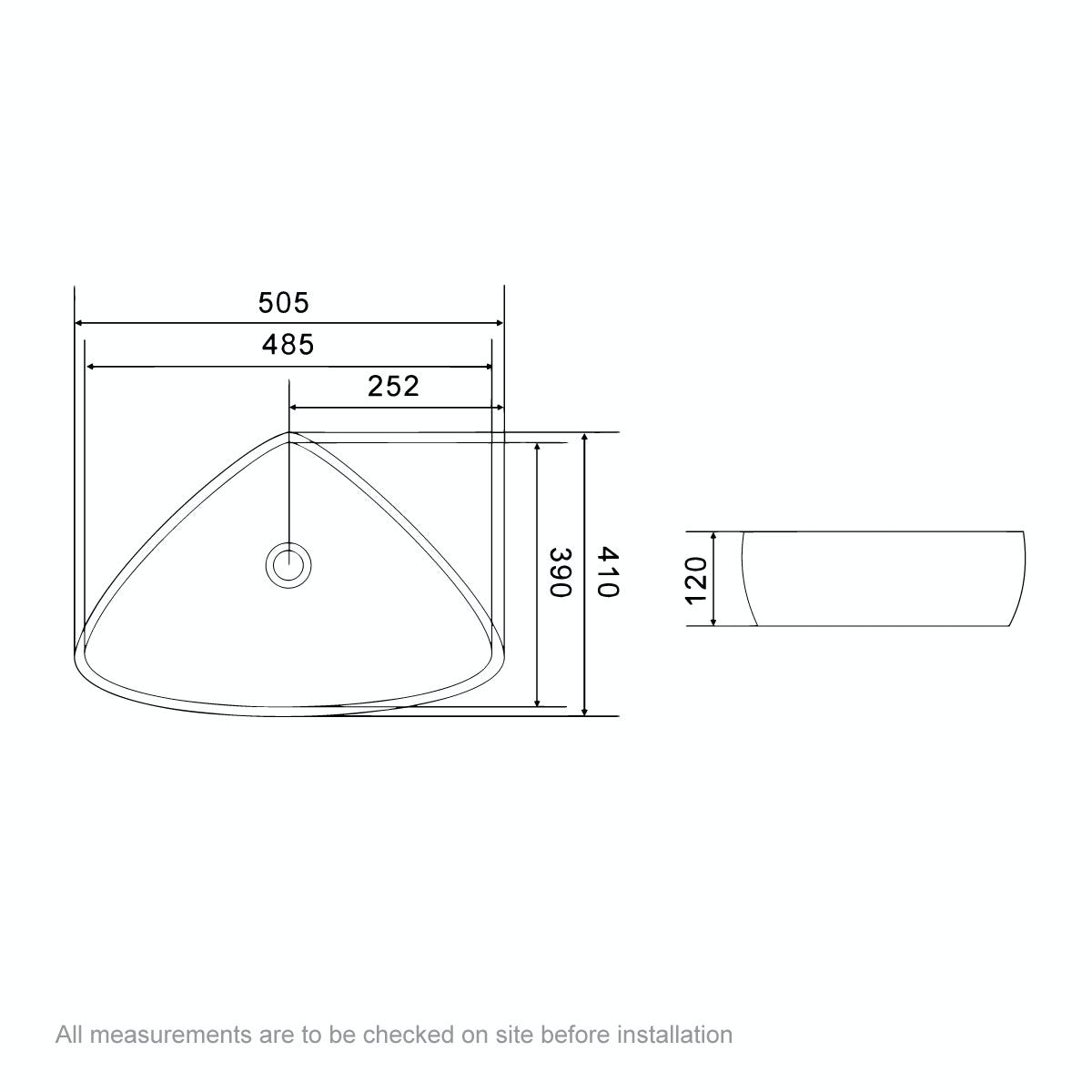 Dimensions for Mode Swan thin edge countertop basin 500mm