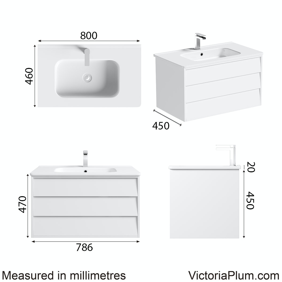 Dimensions for Mode Cooper white wall hung vanity unit and basin 800mm