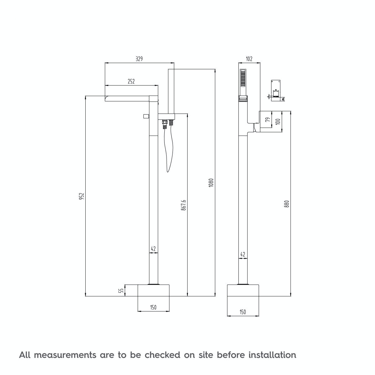 Dimensions for Mode Carter freestanding bath filler tap
