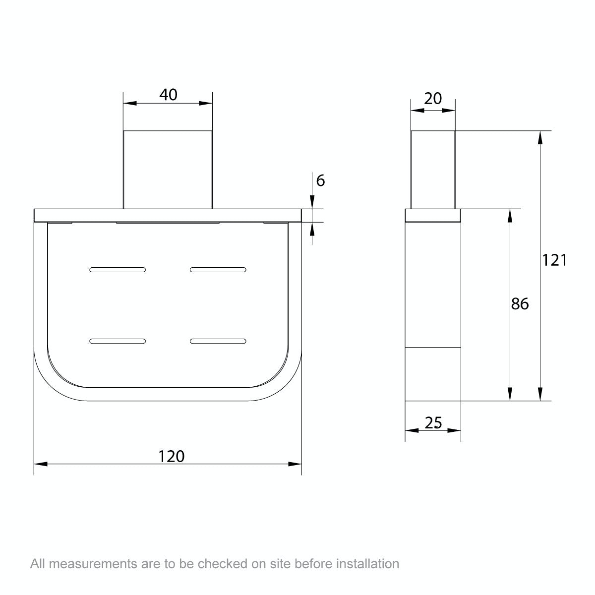 Dimensions for Mode Spencer brushed nickel soap dish