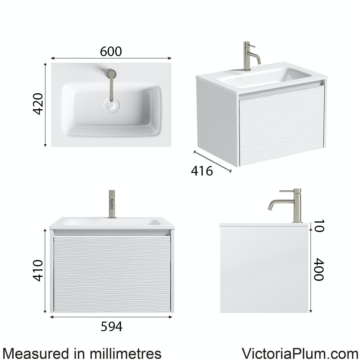 Dimensions for Mode Banks matt white wall hung vanity unit and basin 600mm