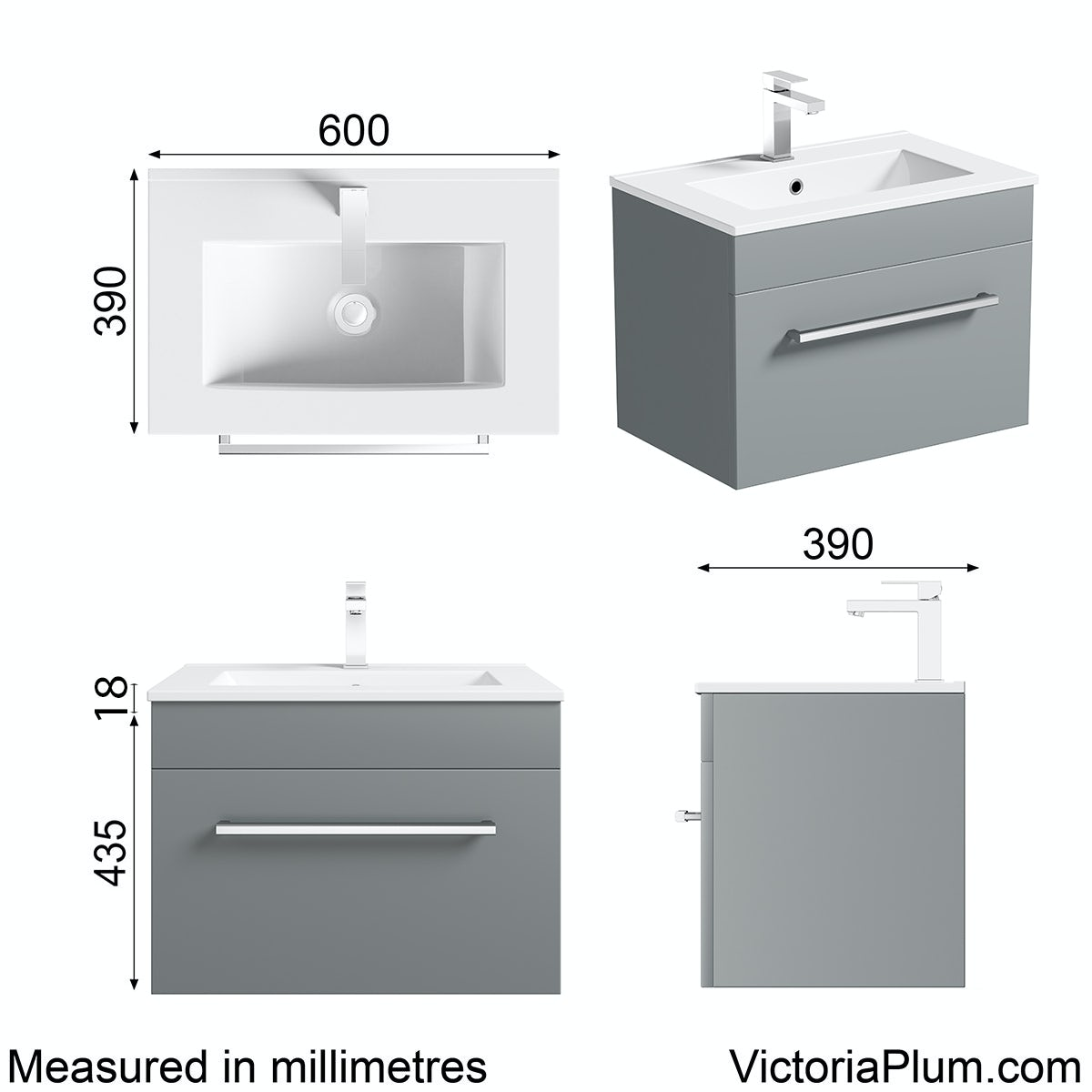 Dimensions for Orchard Derwent grey wall hung drawer unit and basin 600mm