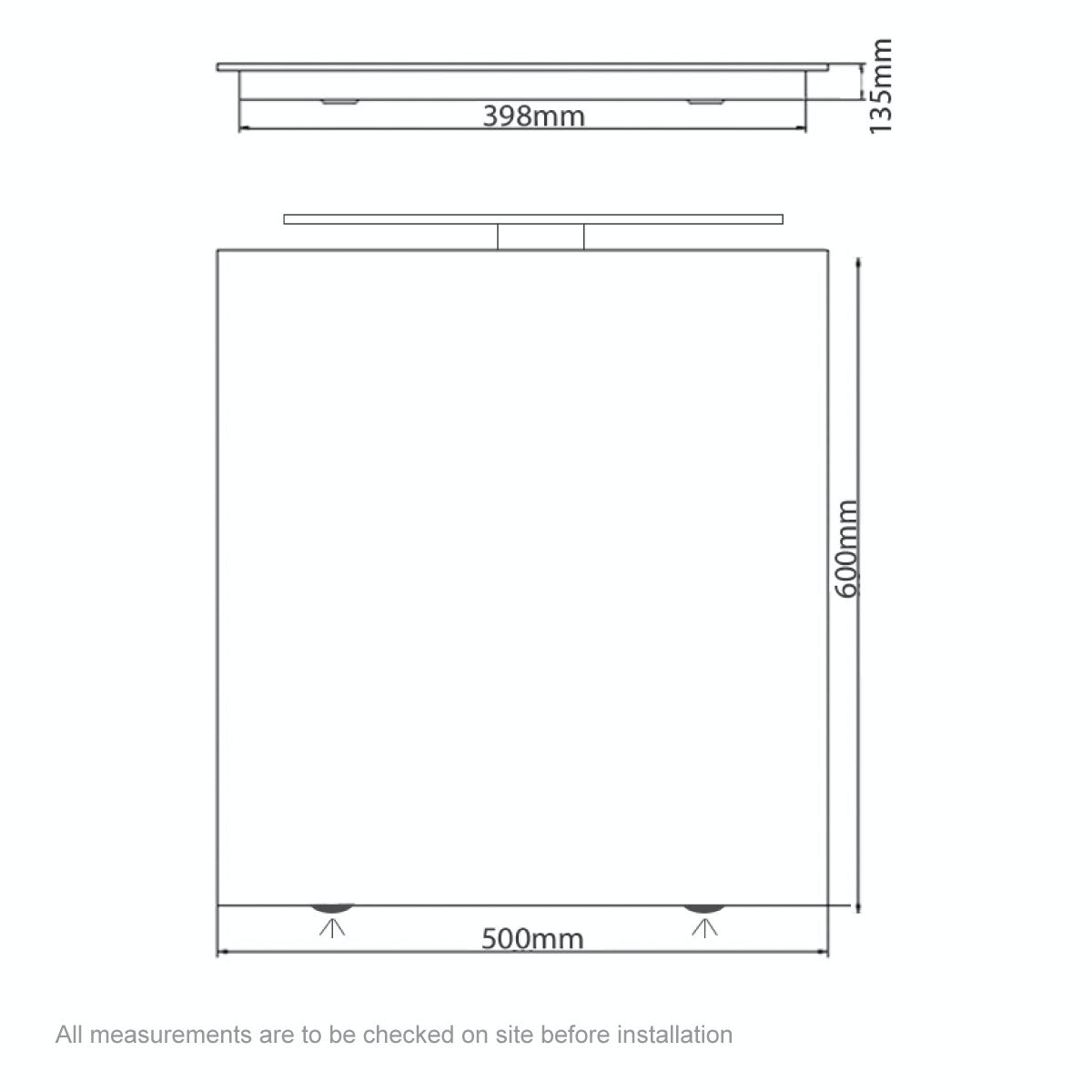 Dimensions for Mode Neveah LED over and under lit mirror cabinet