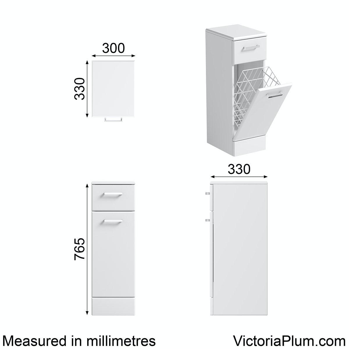 Dimensions for Orchard Eden white linen basket 330mm