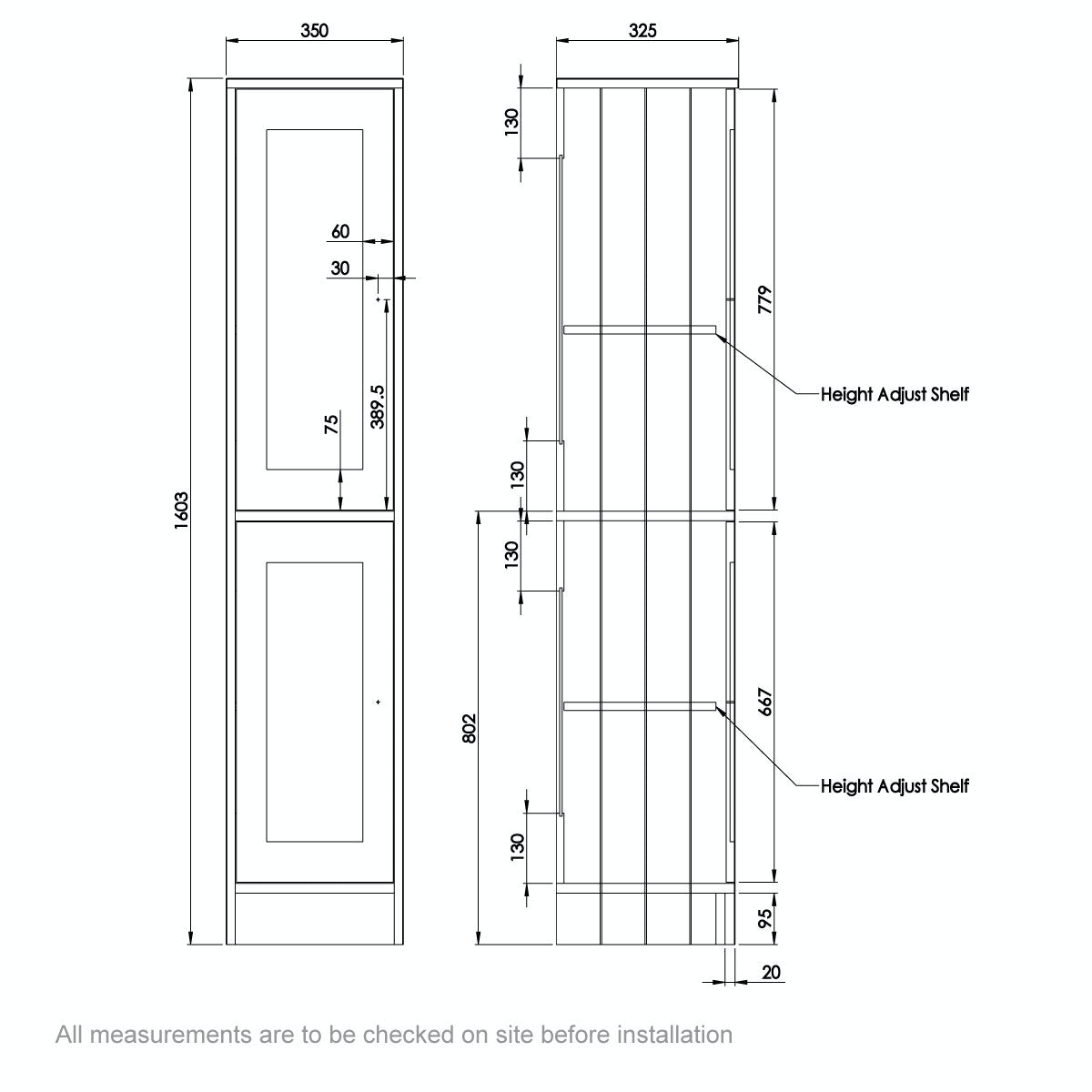 Dimensions for The Bath Co. Dulwich ivory tall storage unit