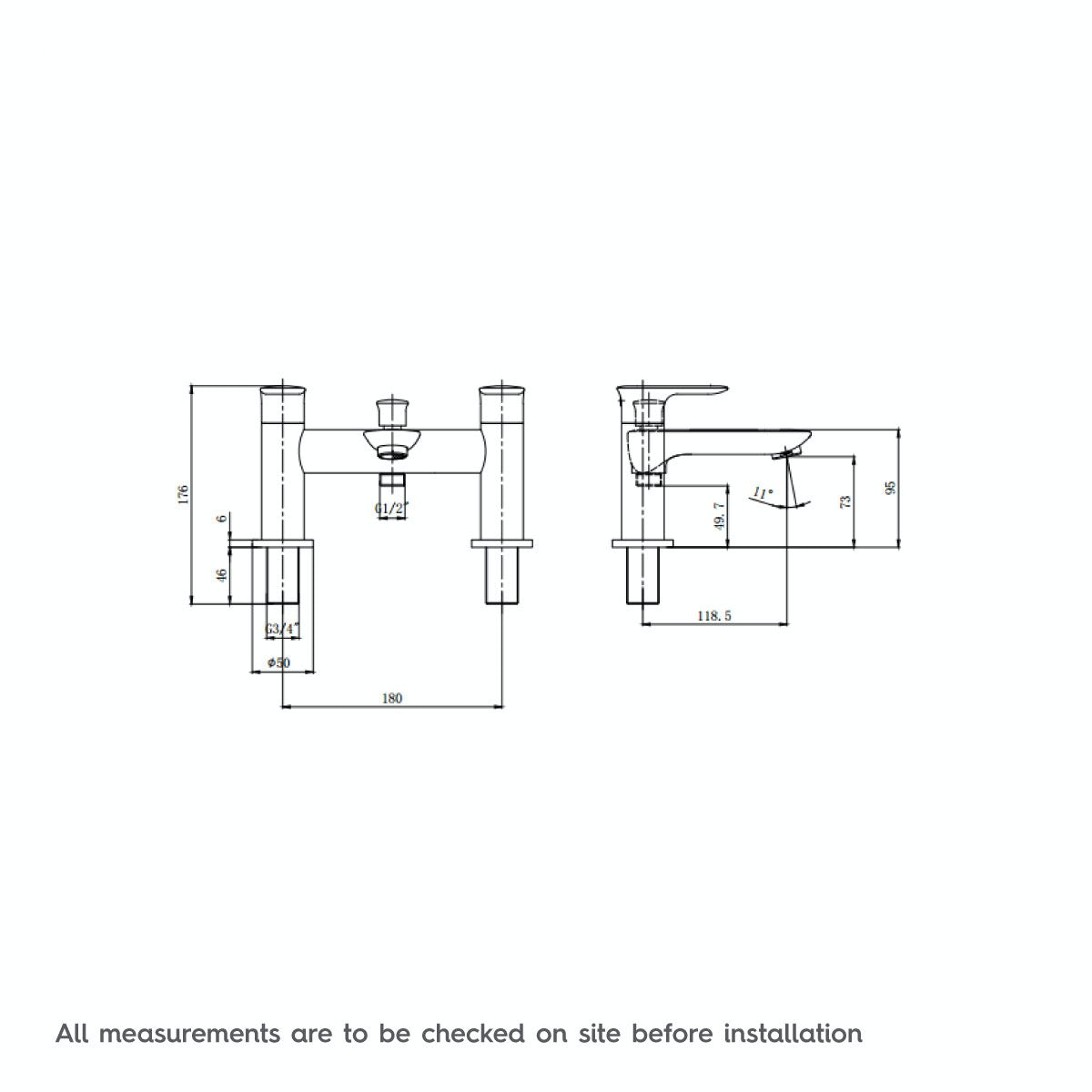 Dimensions for Orchard Cleanse bath shower mixer tap