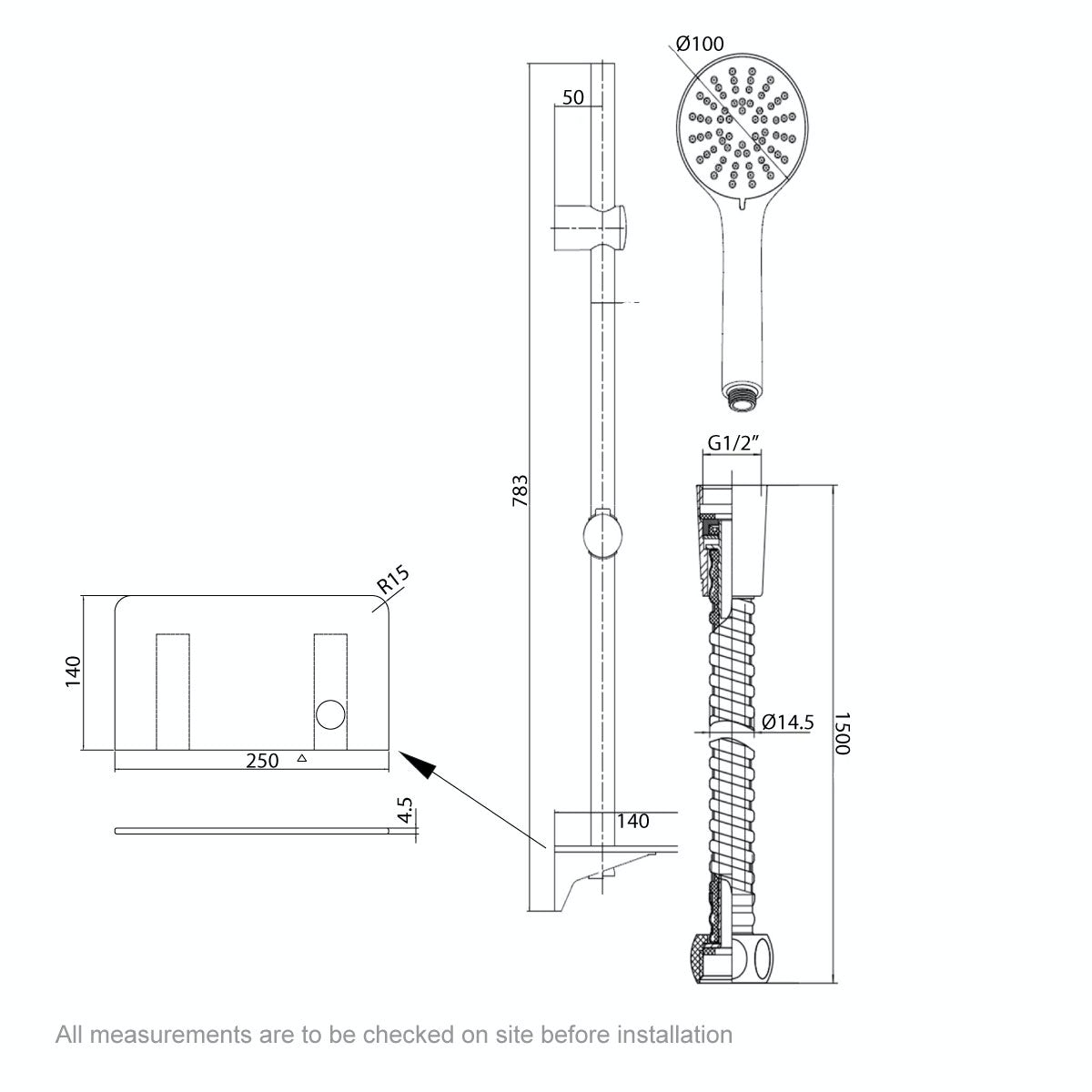 Dimensions for Orchard Pure sliding shower rail and shelf kit