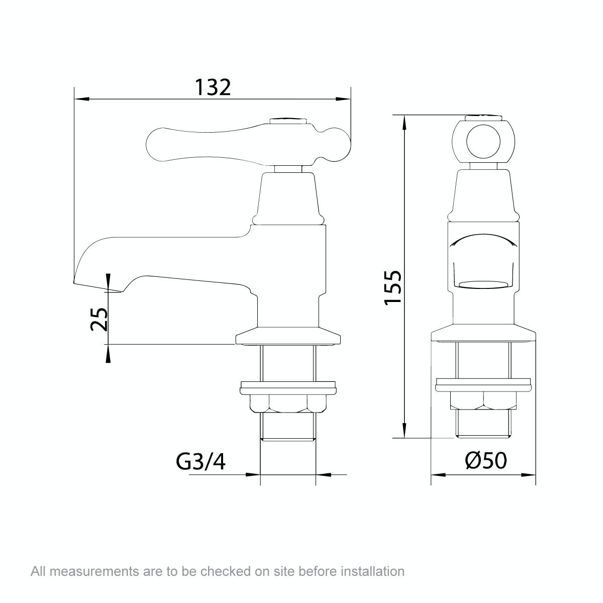 Dimensions for The Bath Co. Camberley lever bath pillar taps