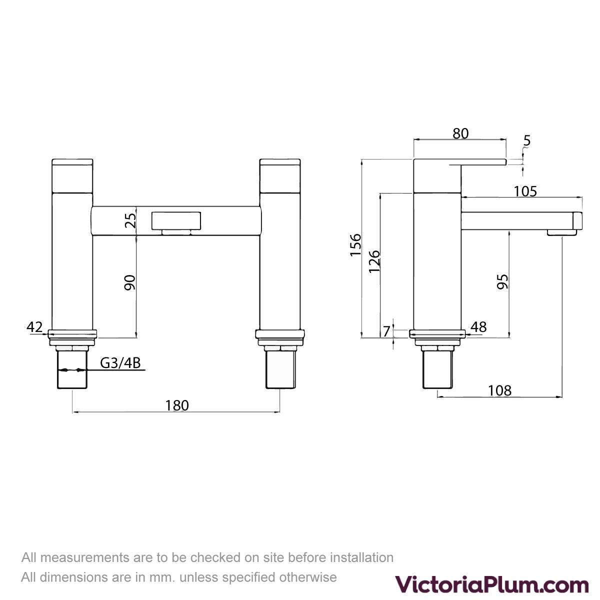 Dimensions for Kirke Connect bath mixer tap