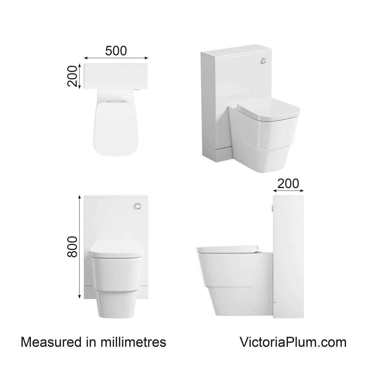 Dimensions for Orchard Derwent white back to wall toilet unit