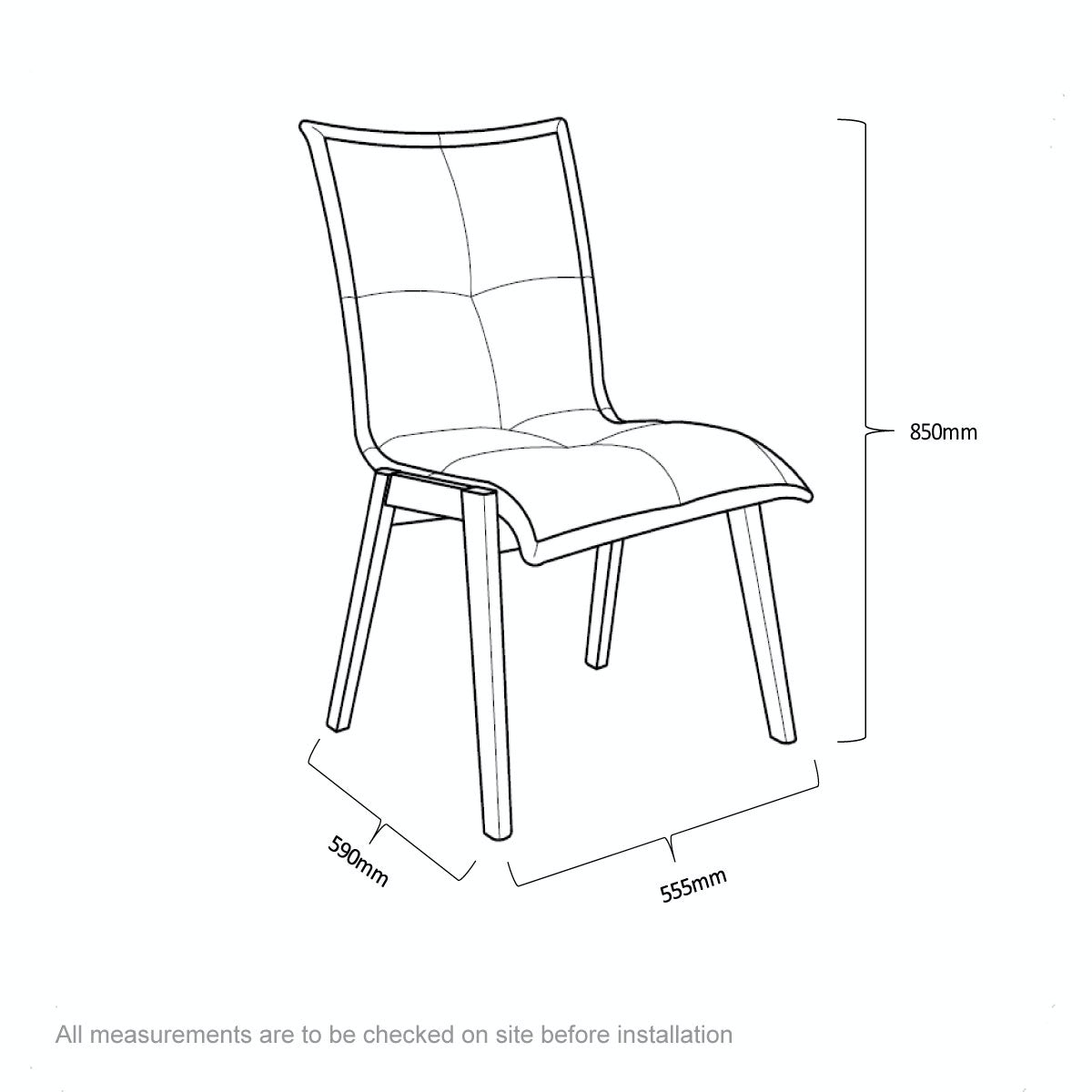 Dimensions for Hadley oak and beige pair of dining chairs