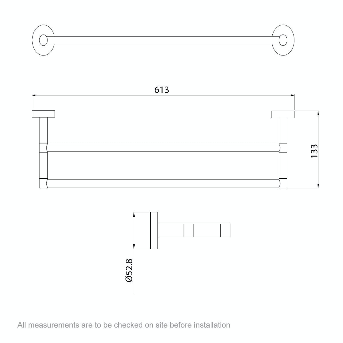 Dimensions for Orchard Lunar double towel rail