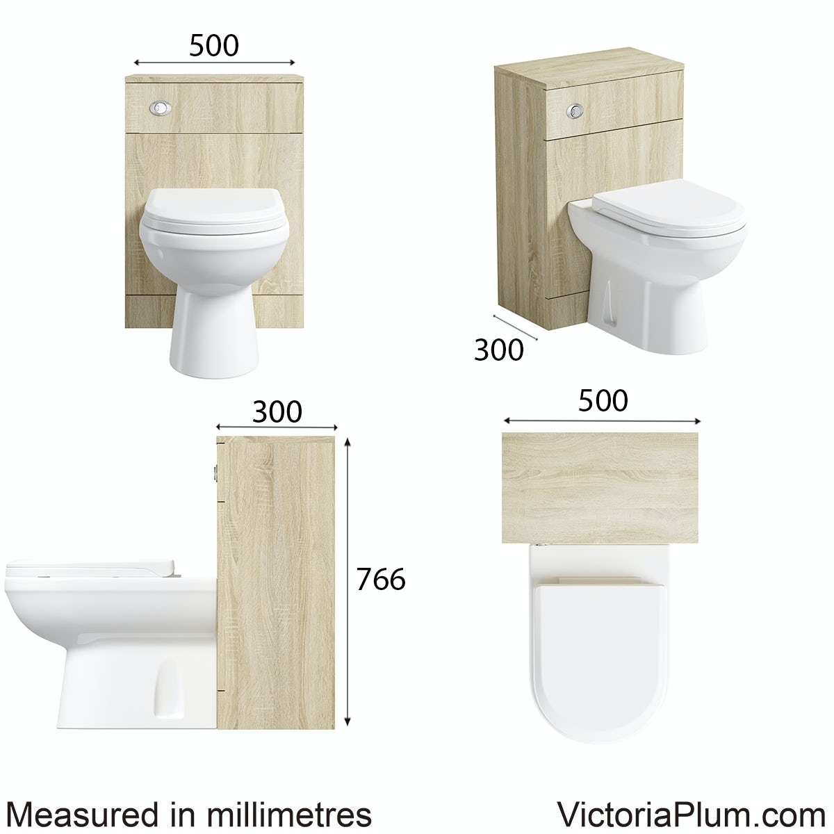 Dimensions for Eden oak slimline back to wall toilet unit