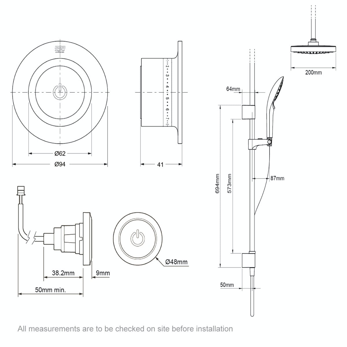Dimensions for Mira Mode dual ceiling fed digital shower pumped