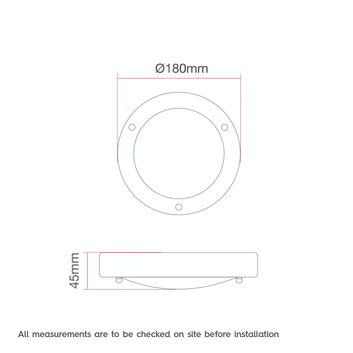 Dimensions for Forum Llum small round flush bathroom ceiling light