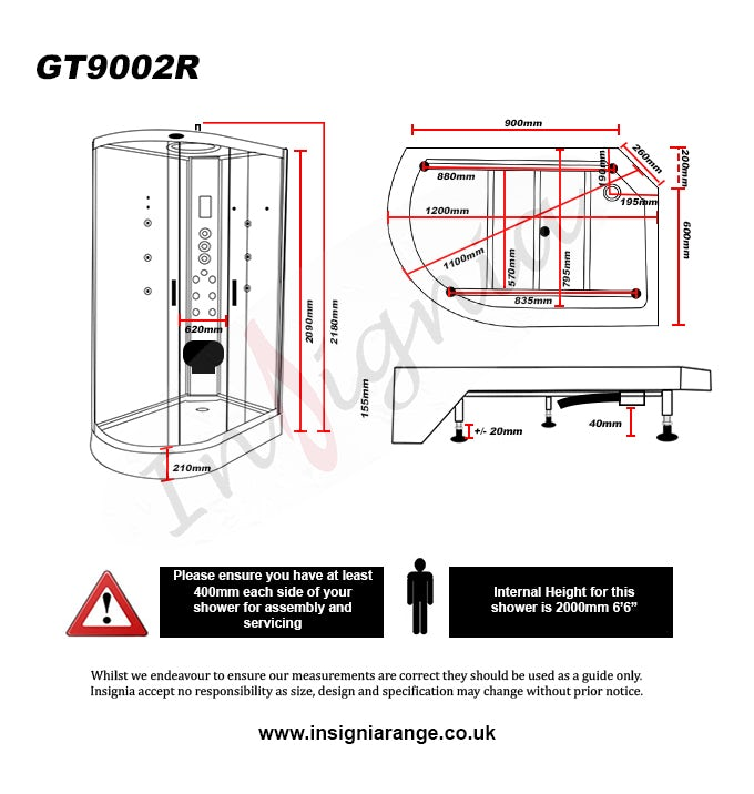 Dimensions for Insignia right handed offset quadrant hyrdo-massage shower cabin 1200 x 800