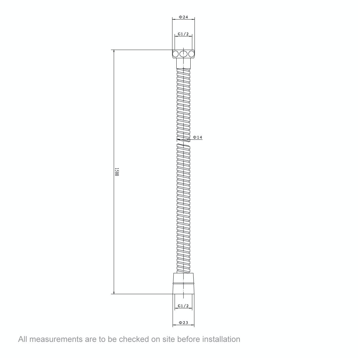Dimensions for Shower Hose
