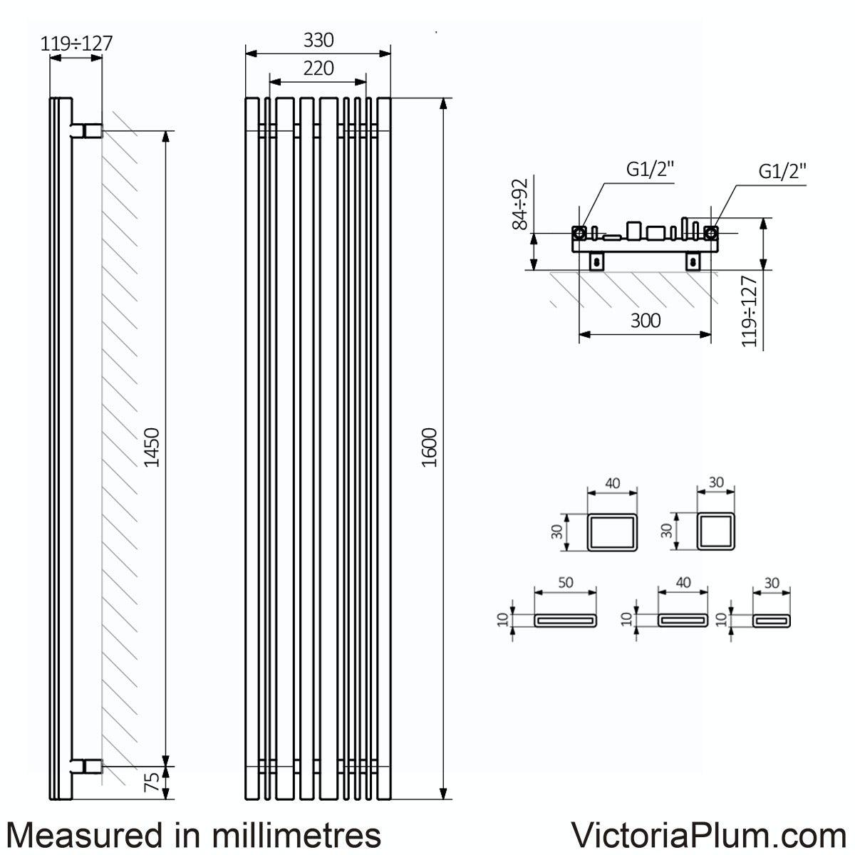Dimensions for Terma Sherwood terra brown vertical radiator 1600 x 330