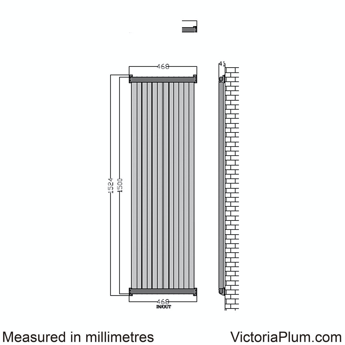 Dimensions for Mode Zephyra anthracite vertical radiator 1500 x 468