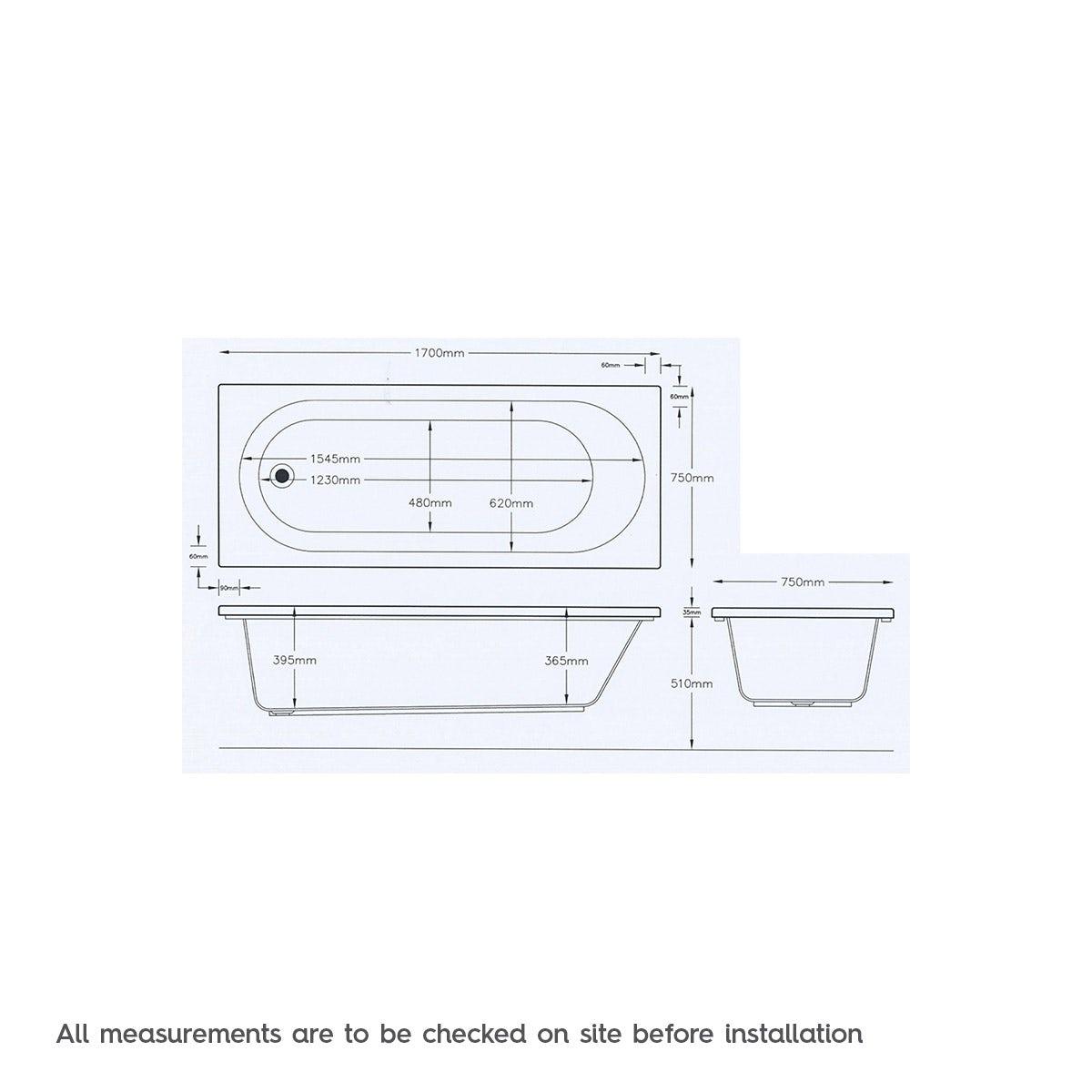 Dimensions for Mode Richmond single end 12 jet whirlpool bath 1700 x 750