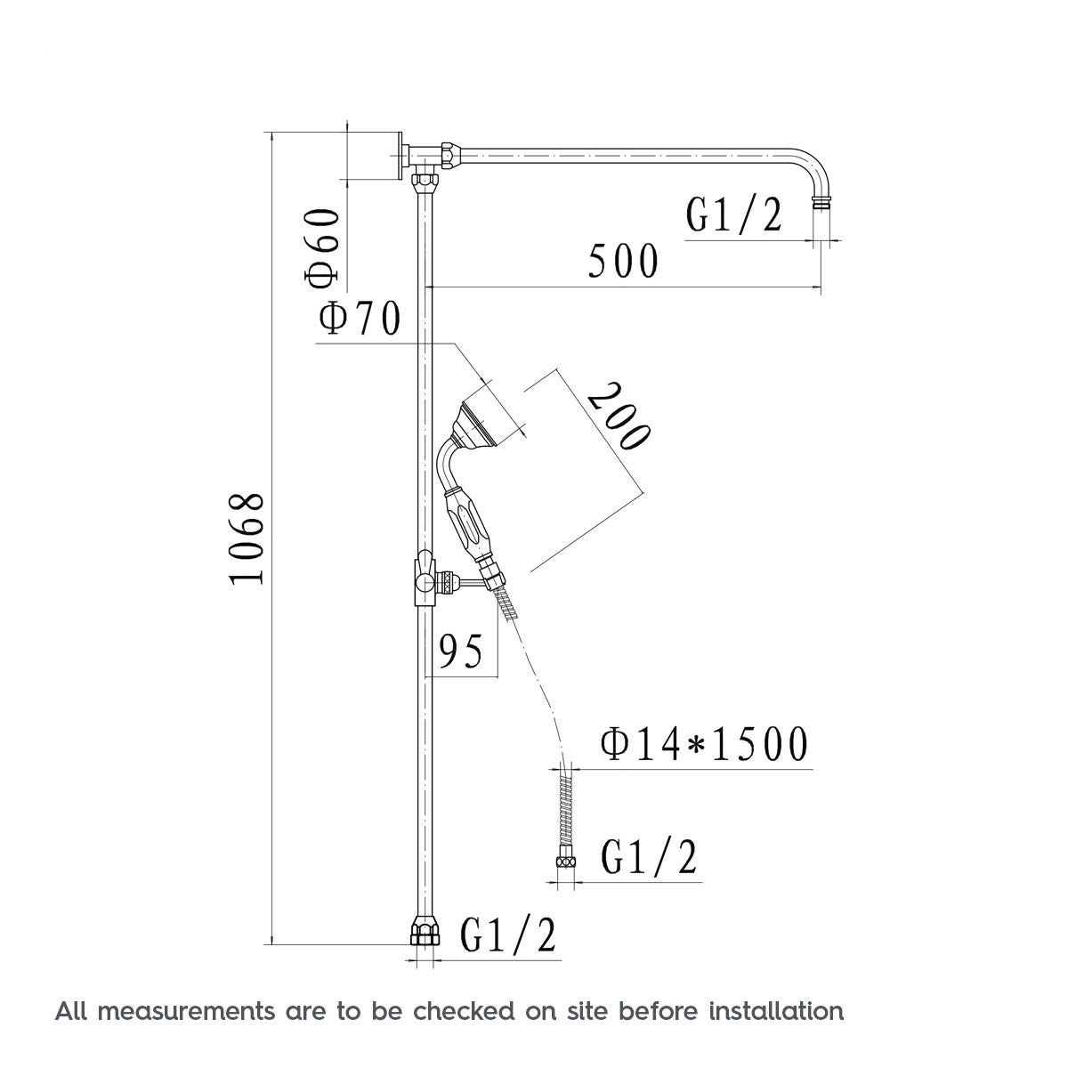 Dimensions for The Bath Co. Barrington rain can dual valve riser shower system