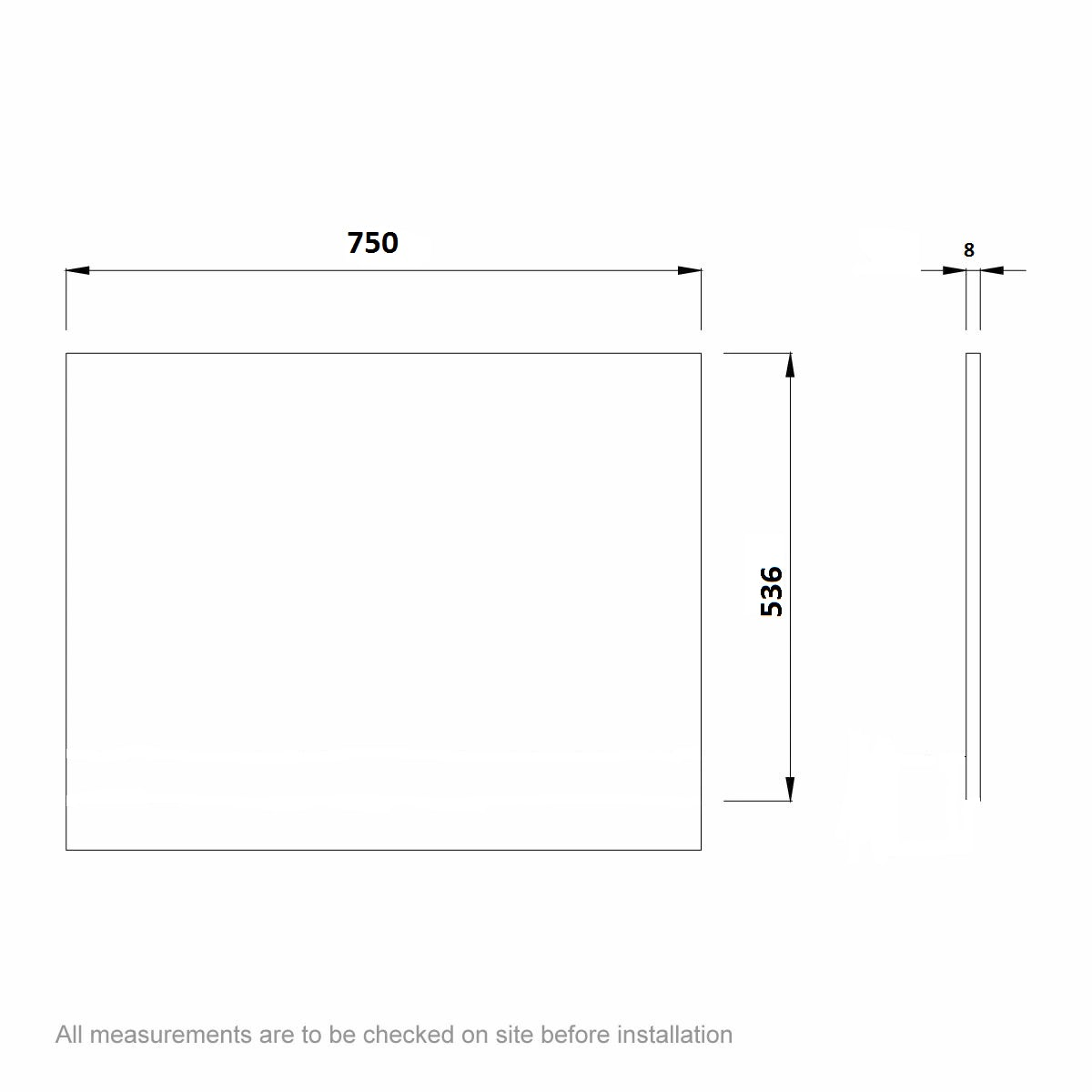 Dimensions for Kineduo black glass end panel 750mm