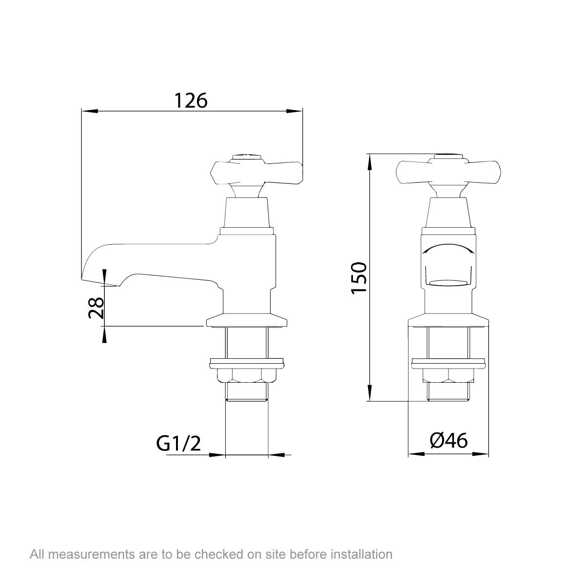 Dimensions for The Bath Co. Beaumont basin pillar taps