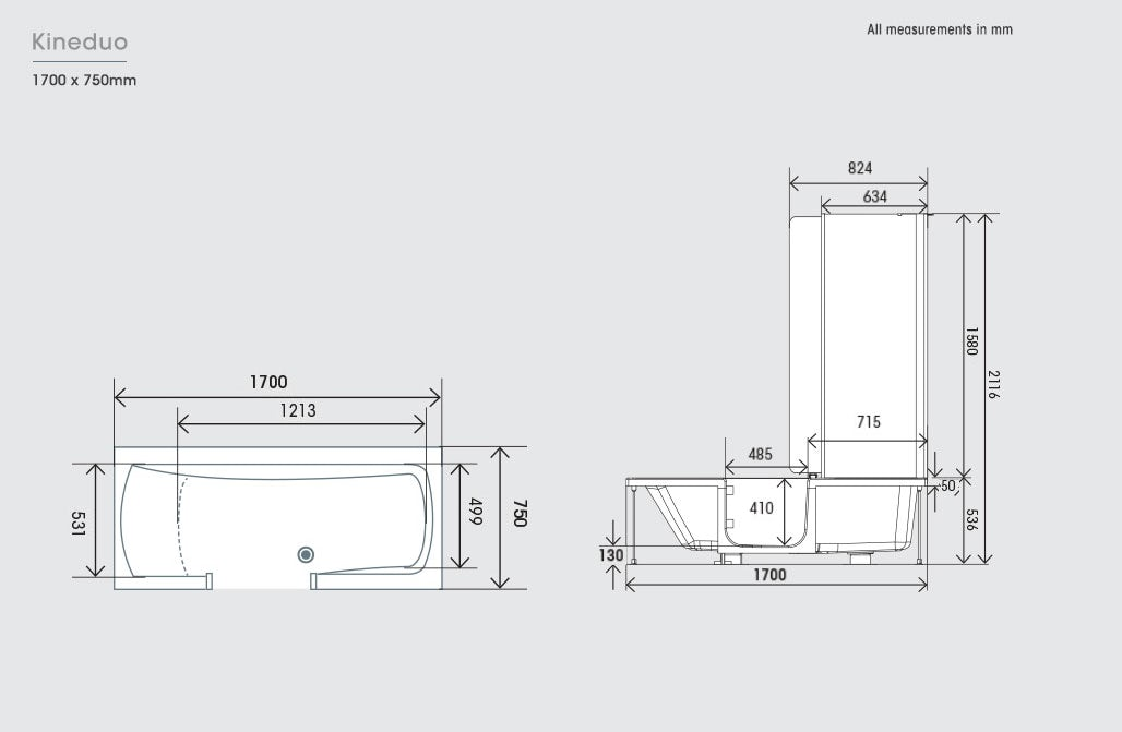 Dimensions for Kineduo left handed shower bath with screen and black panel 1700 x 750