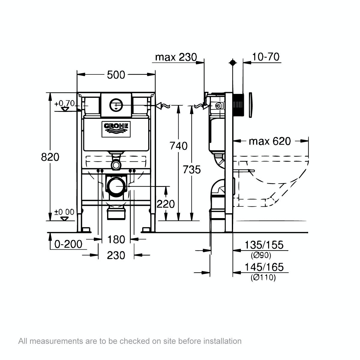 Dimensions for Grohe Rapid SL Set 3 in 1 wall mounting frame with round push button Nova Cosmopolitan flush plate 0.82m