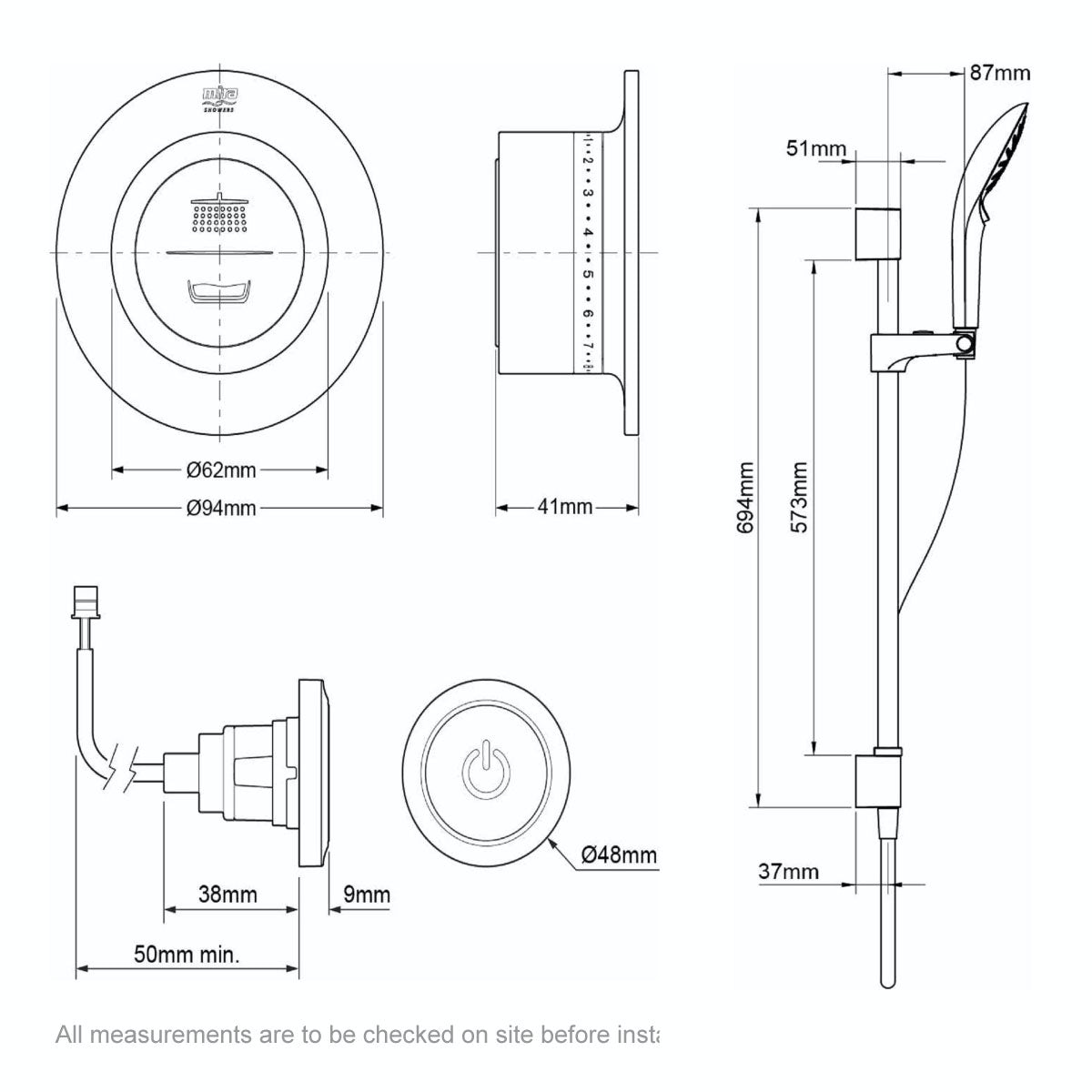 Dimensions for Mira Mode rear fed digital shower pumped