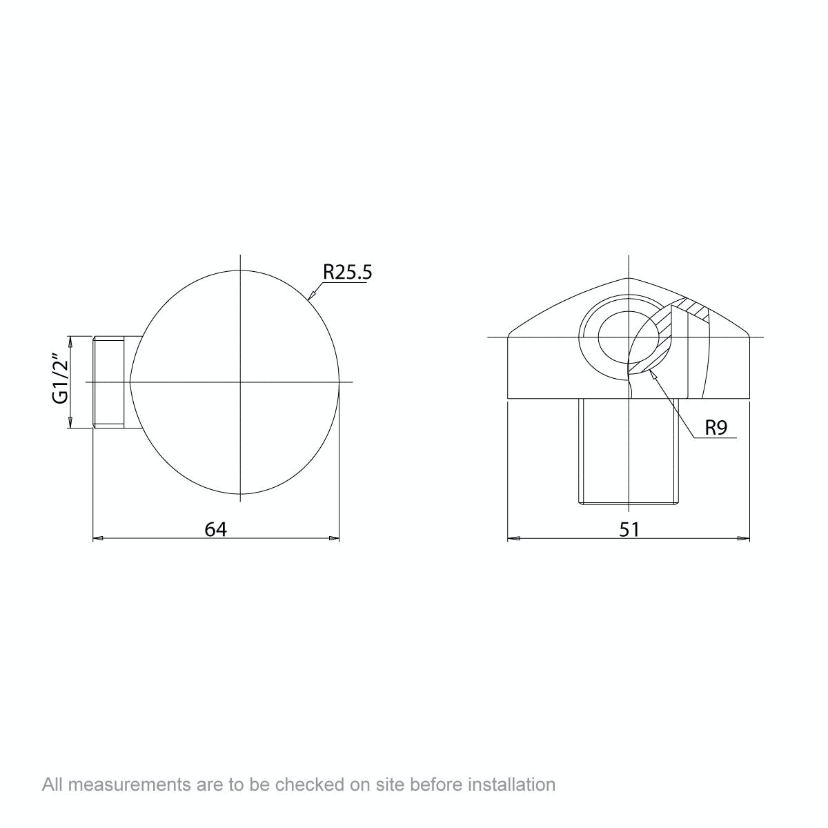 Dimensions for Orchard Round Shower Outlet